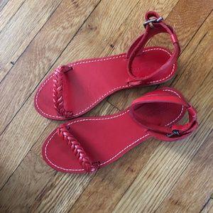 Madewell Red Braided Sightseer Sandal 7.5